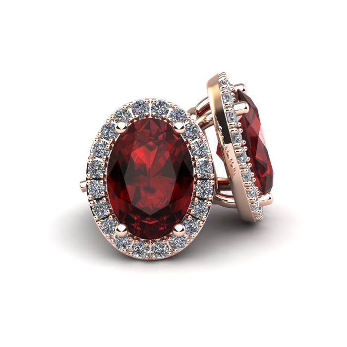 SuperJeweler 3 1/4 Carat Oval Shape Garnet and Halo Diamo...