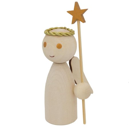 Unfinished Blank Wooden Angel Figurine Holding Star Wand 4.25 Inches (Holding Star)