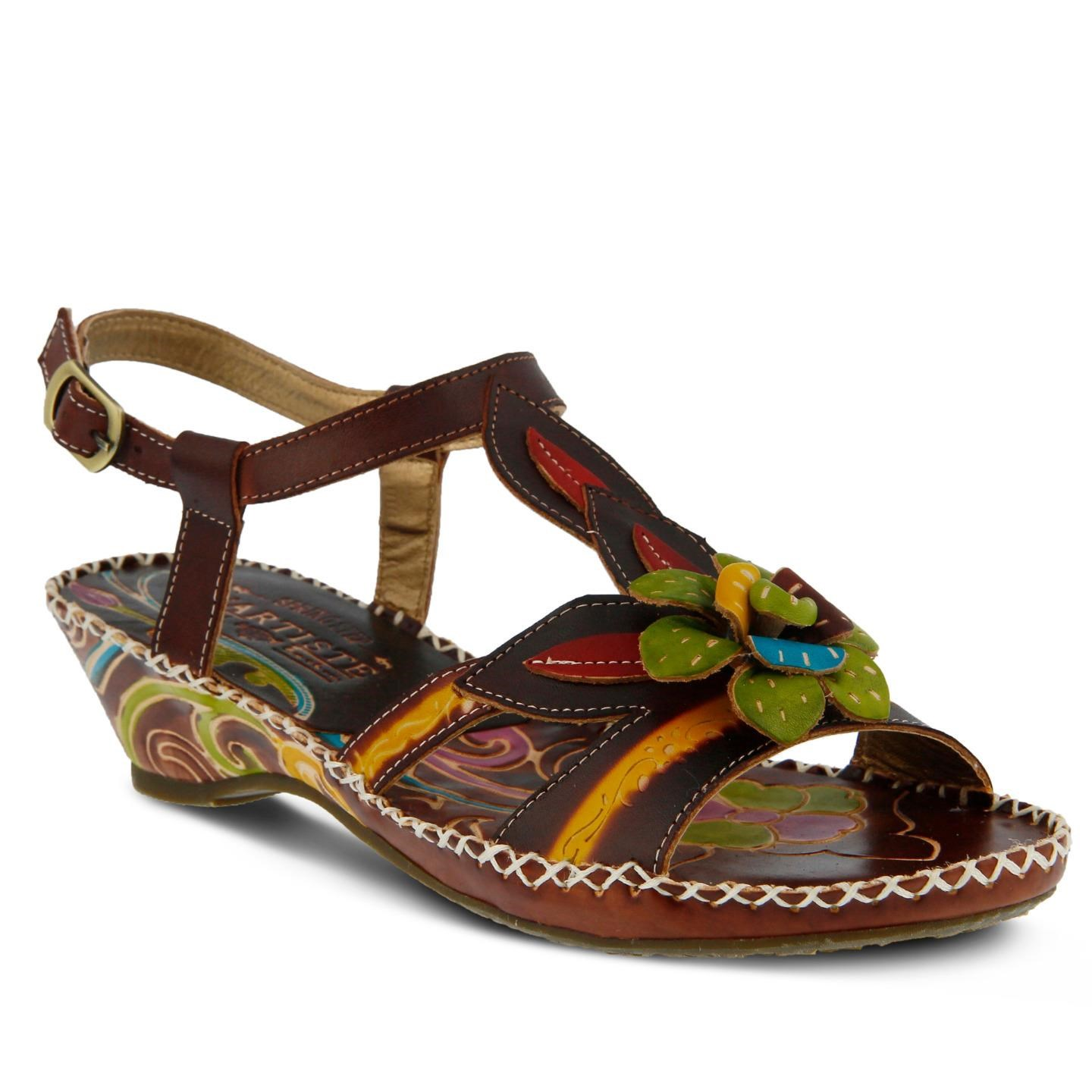 L'Artiste Poolside By Spring Step Brown Leather Sandal 37 EU / 7 US Women