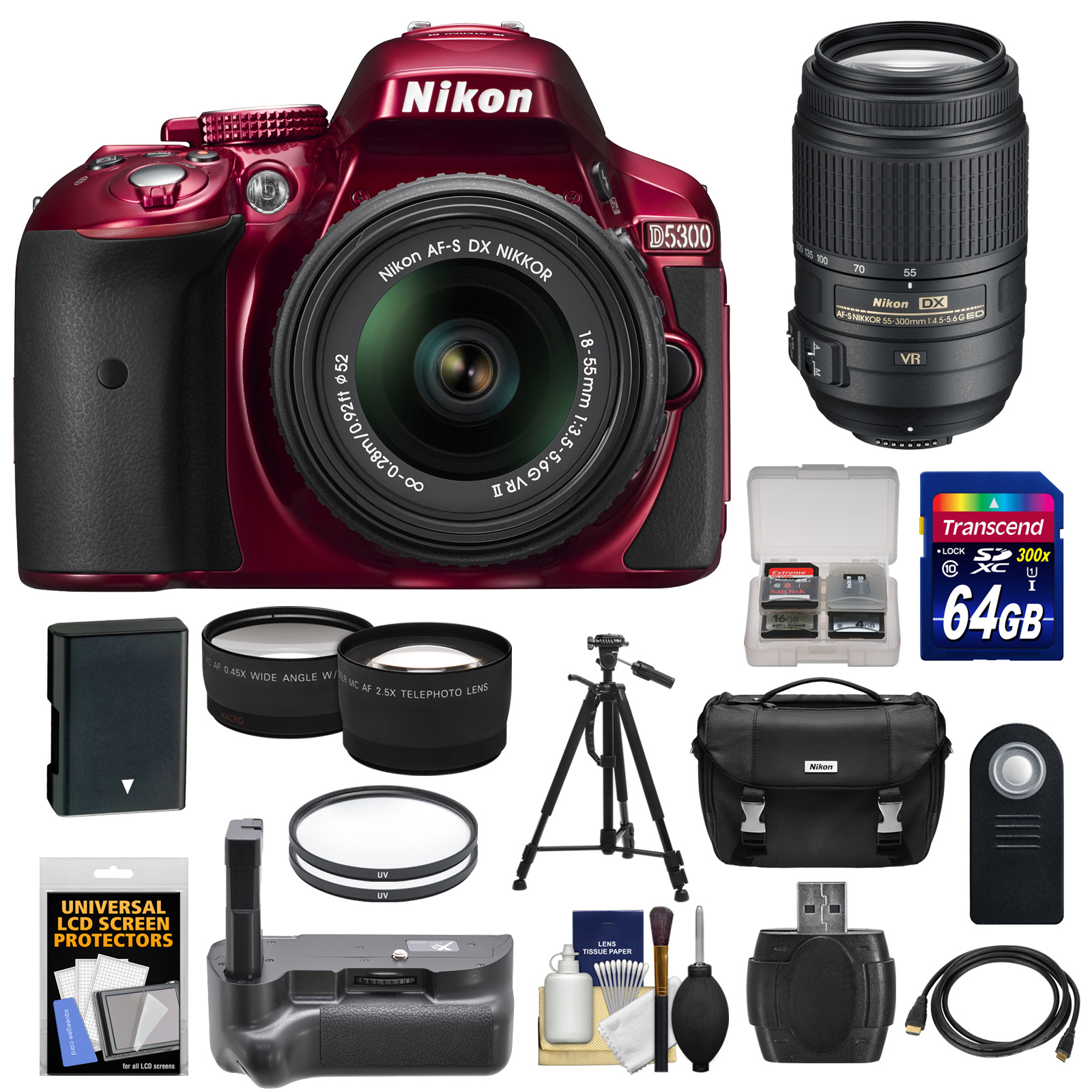 Nikon D5300 Digital SLR Camera & 18-55mm G VR DX II Lens (Red) with 55-300mm VR Lens + 64GB Card + Battery + Case + Grip + Tele/Wide Lens Kit