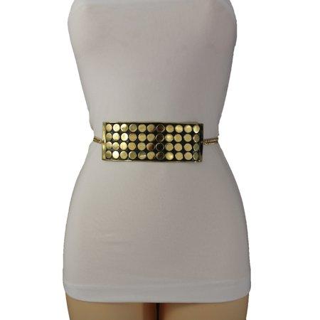 Women Gold Metal Chains Skinny Belt Square Polka Dots Black Plate Buckle XS S M