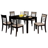 7-Piece Wooden Dining Table Set In Espresso Brown