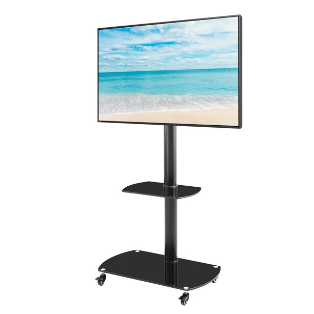Home Office Adjustable Height Angle Tempered Glass Metal Frame Floor With Lockable Wheels Mobile Tv Stand Lcd Plasma Tv Bracket 2 Layers Fits For 32 65 Inch Tvs Walmart Com Walmart Com