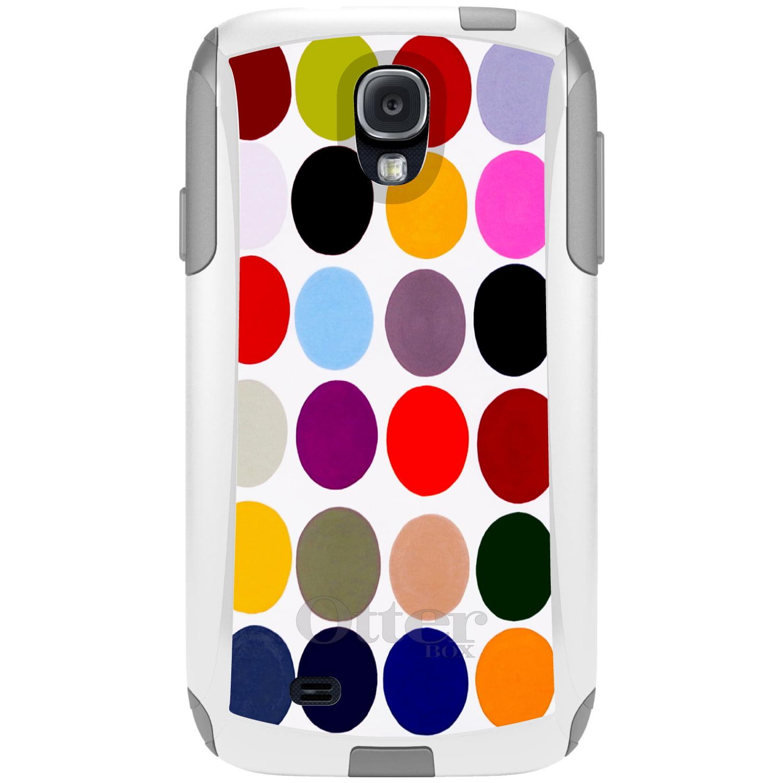 CUSTOM White OtterBox Commuter Series Case for Samsung Galaxy S4 - Rainbow Polka Dots