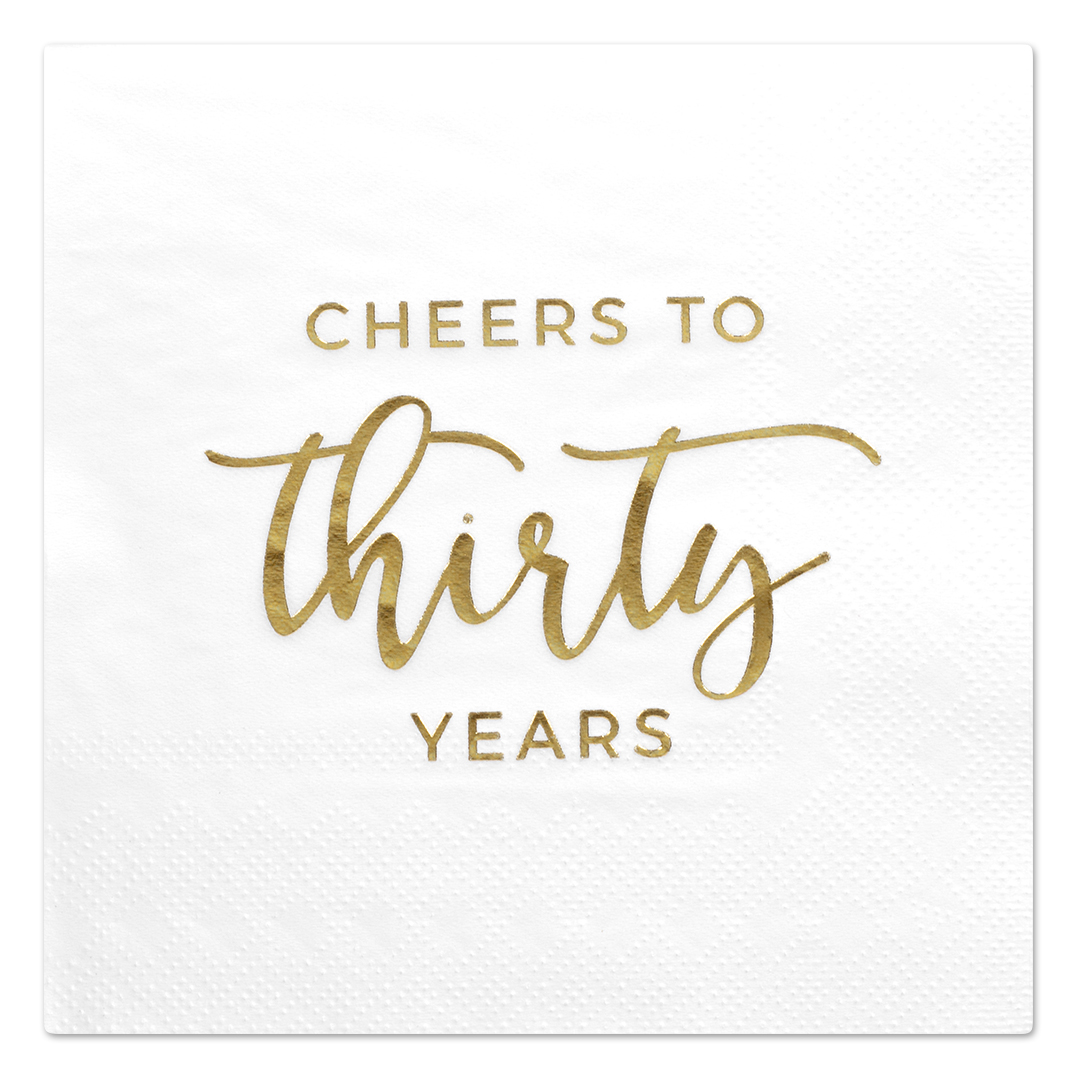 Koyal Wholesale Cheers To Thirty, Funny Quotes Cocktail Napkins, Gold Foil, Bulk 50 Pack Count 3 Ply Napkins