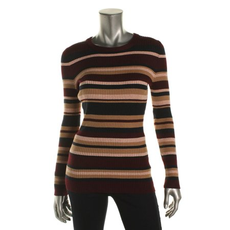 Hooked Up by IOT Womens Juniors Striped Ribbed Knit Pullover Sweater
