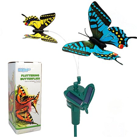 HQRP Pair of Solar Powered Flying Fluttering Butterflies Yellow and Blue Swallowtail for Garden Plants Flowers plus HQRP UV Chain / UV Health Meter