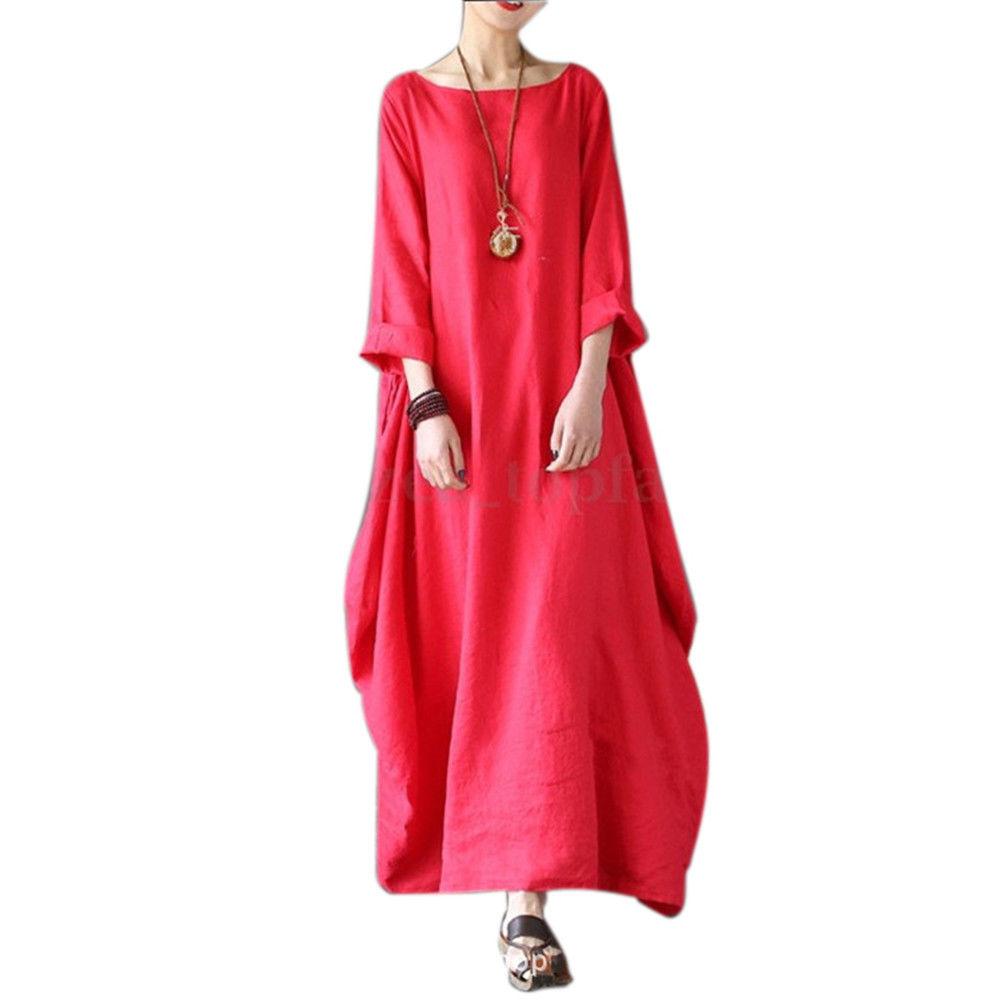 e61dbd945fb cottcuboaba - Women Loose Plus-size Round Neck Long Cotton linen Dress 3 4  Sleeve - Walmart.com