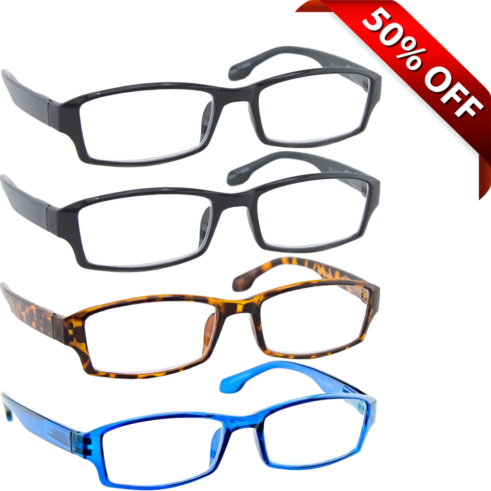 Reading Glasses +4.00 | 4 Pack of Readers for Men and Women | 2 Black Tortoise Blue