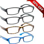 Reading Glasses +3.75 | 4 Pack of Readers for Men and Women | 2 Black Tortoise Blue