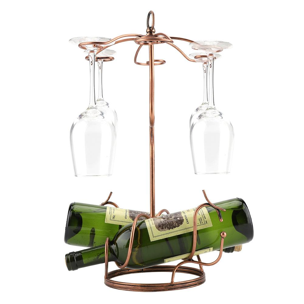 HURRISE Red Wine Holder, Red Wine Holder,Metal Wine Glasses Rack Hanging Upside Down Goblet Bottle Storage Holder Shelf