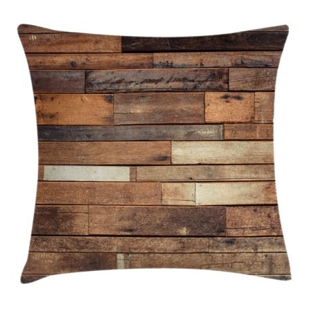 Wooden Throw Pillow Cushion Cover, Rustic Floor Planks Print Grungy Look Farm House Country Style Walnut Oak Grain Image, Decorative Square Accent Pillow Case, 16 X 16 Inches, Brown, by Ambesonne - Fair Oaks Farm Halloween