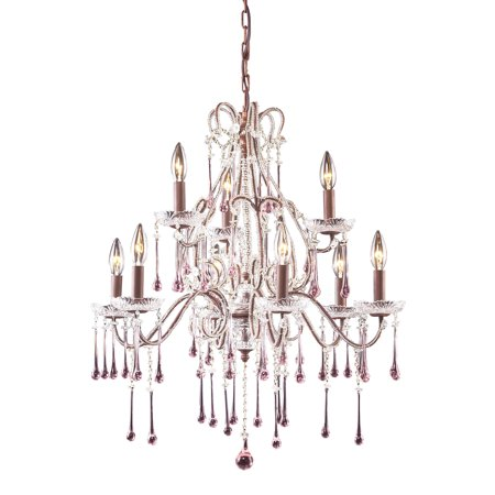 Opulence 9-Light Chandelier in Rust with Rose Crystals