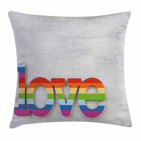 Pride Decorations Throw Pillow Cushion Cover, Rainbow Colored Love Sign on Wood LGBT Homosexuality Community Culture, Decorative Square Accent Pillow Case, 18 X 18 Inches, Multicolor, by (Rainbow Colored Wood)