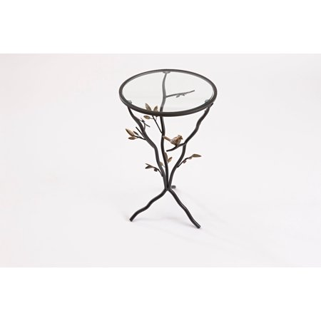 FirsTime & Co. Bird and Branches Tripod Side Table with Glass Tabletop, Aged Bronze - Bronze Glass Table