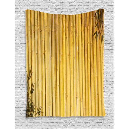 Bamboo Tapestry, Bamboo Stems and Leaves Oriental Nature Wood Image Natural Zen Asian Wildlife Theme, Wall Hanging for Bedroom Living Room Dorm Decor, Yellow, by Ambesonne