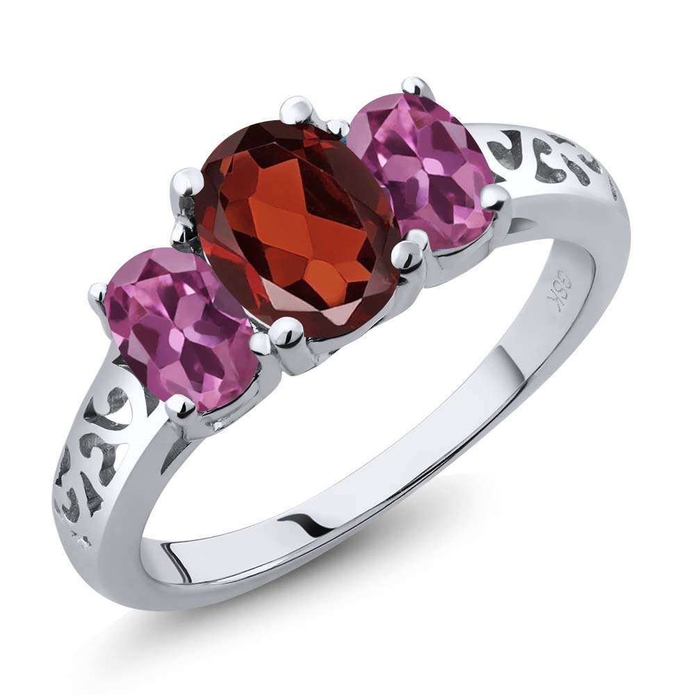 2.20 Ct Oval Red Garnet Pink Tourmaline 14K White Gold 3-Stone Ring by