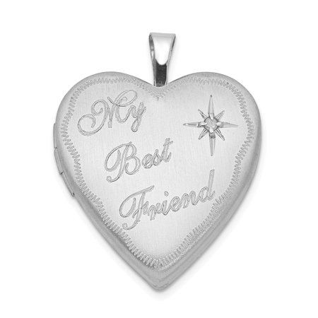 Sterling Silver Rhodium-plated 20mm Best Friend with Diamond Heart