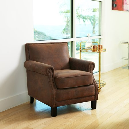 Devon & Claire Jester Antique Leather Fabric Club Chair, Multiple Colors (Jester Club Chair)