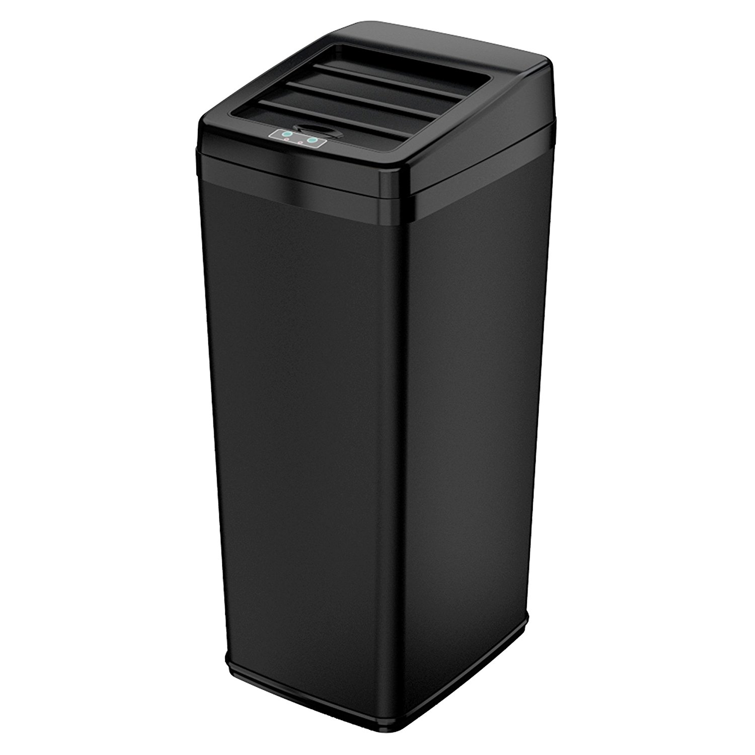iTouchless 14 Gallon Matte Black Steel Sensor Trash Can with Retracting Lid by iTouchless