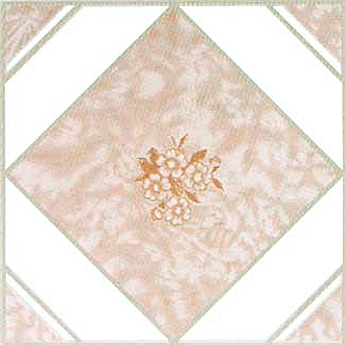"Home Dynamix Dynamix Vinyl Tile Area Rugs - 1007  Pink Marble Accent Flower Rug - 12"" x 12"""