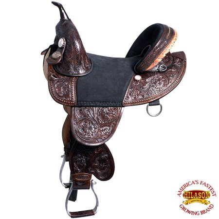 "13"" HILASON TREELESS WESTERN TRAIL BARREL RACING LEATHER SADDLE"