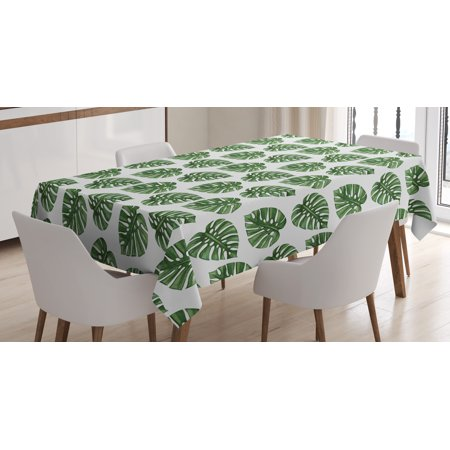 Palm Tree Table Decorations (Green Leaf Tablecloth, Tropical Jungle Leaves Palm Trees of Hawaii Watercolor Style Summer Nature, Rectangular Table Cover for Dining Room Kitchen, 60 X 90 Inches, Green White, by)