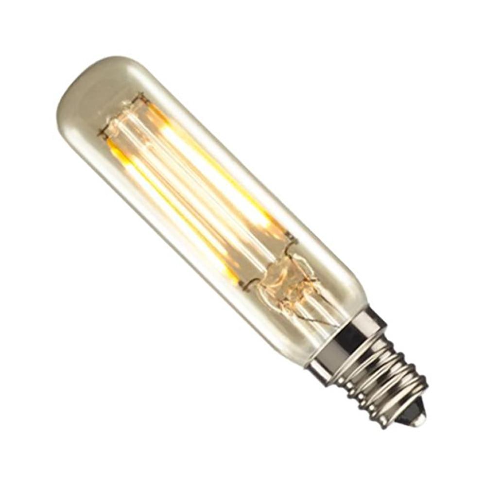GoodBulb 776604 25W Equivalent LED2T6/22K/FIL-NOS 2W LED Nostalgic Mini Radio Tube Bulb with Candelabra Base, Antique Finish - 1 Pack
