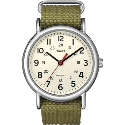 Timex Men's Weekender T2N651 White Nylon Analog Quartz Watch