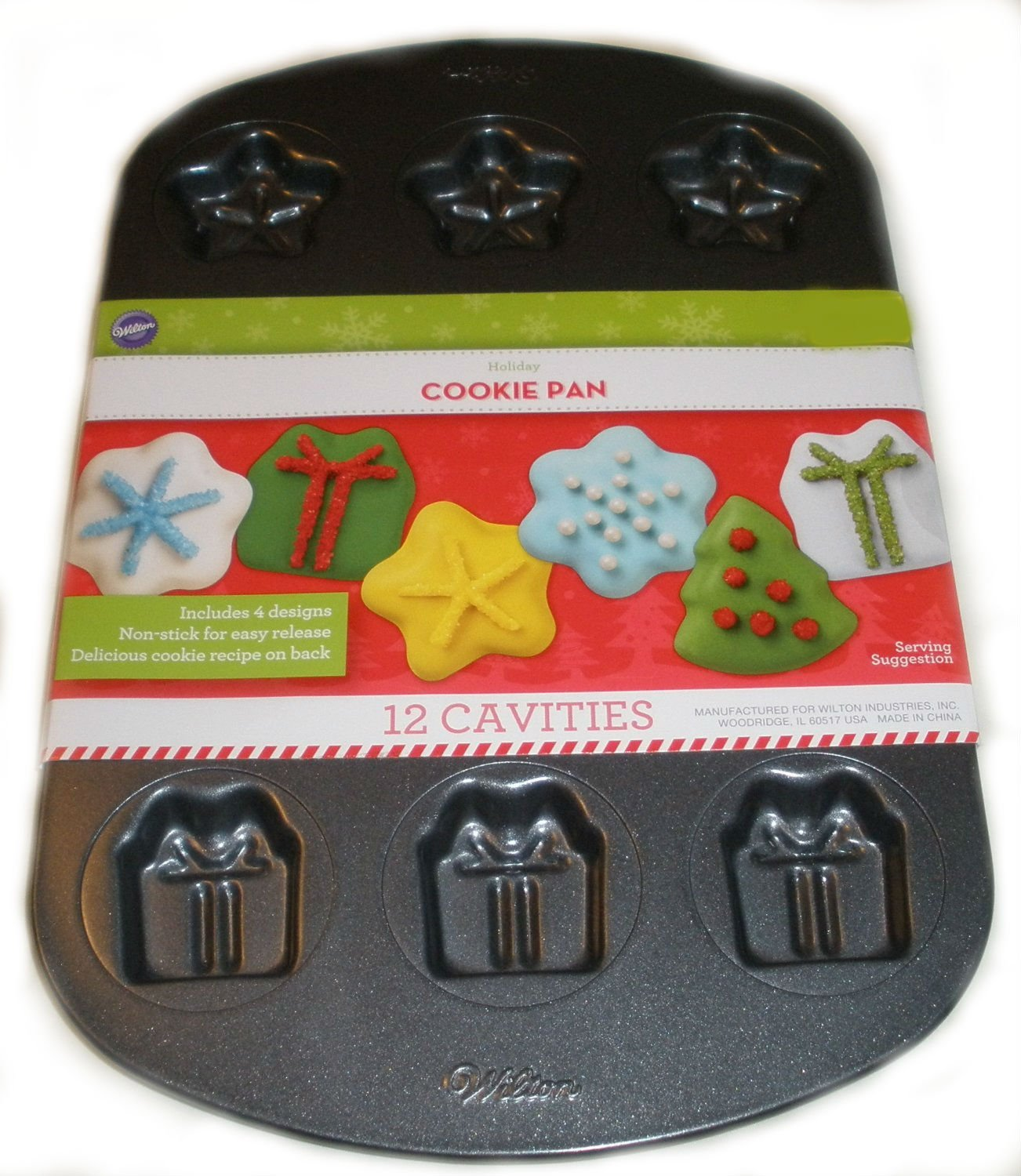 2105-5566 Nonstick Holiday Cookie Pan 12 Cavities By Wilton by