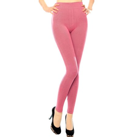 - Footless Opaque Ribbed Leggings w/ Pants Features, Coral