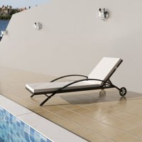 Sun Lounger with Cushion Two Wheels Poly Rattan Brown