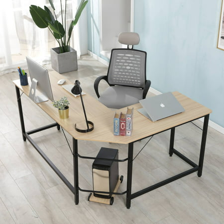 Merax L-Shaped Desk Corner Computer Desk Study Writing Desk for Home Office, - Oak Pine Desk
