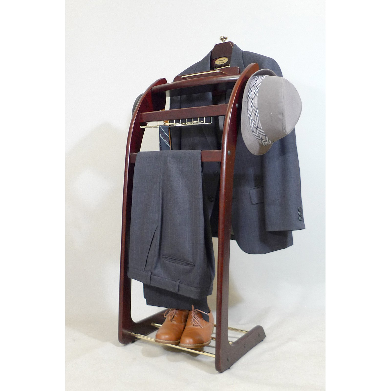 VL16158 Windsor Signature Valet Dark Mahogany with Brass Hardware, built in tie rack, detachable hanger for easy access