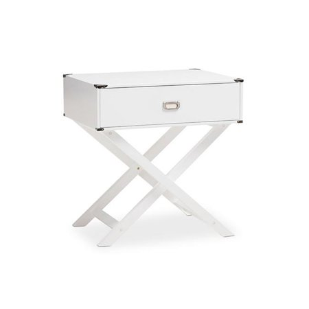 Urban Designs 370054 Curtice Modern & Contemporary White Drawer Wooden Bedside Table - 27.9 x 25.9 x 20 in.