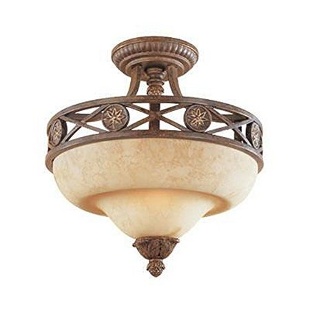 GHP Home Venetian Bronze Semi & Gold Finish Crepe Glass Mount Ceiling Light