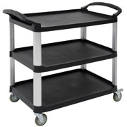 "HUBERT Open Sided Utility Cart With 3 Shelves Black Plastic - 38 1/2""L x 20 7/8""W x 36 5/8""H"