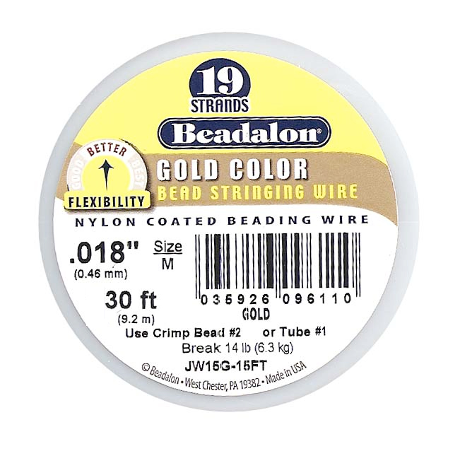 Beadalon Beading Wire Gold Color 19 Strand .018 Inch / 30 Feet