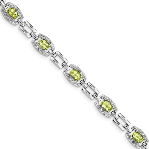Sterling Silver Diamond & Peridot Bracelet. Carat Wt- 0.07ct. Gem Wt- 4.1ct by Jewelrypot