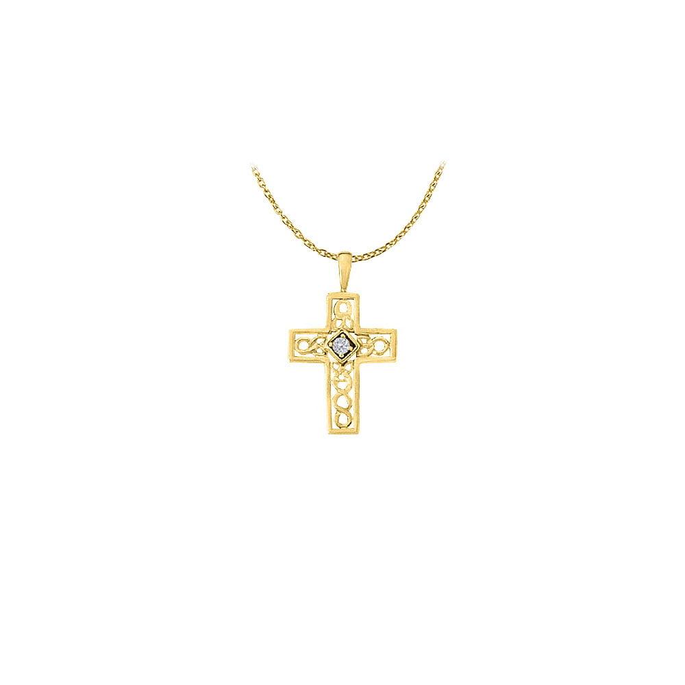 April Birthstone Cubic Zirconia Cross Pendant in 18K Yellow Gold Vermeil - image 2 of 2