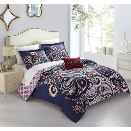 Chic Home Mariko 4 Piece Reversible Duvet Cover Set Bohemian Inspired Paisley Print With Contemporary Geometric Patterned Backing Zipper Closure Bedding With Decorative Shams  King Blue