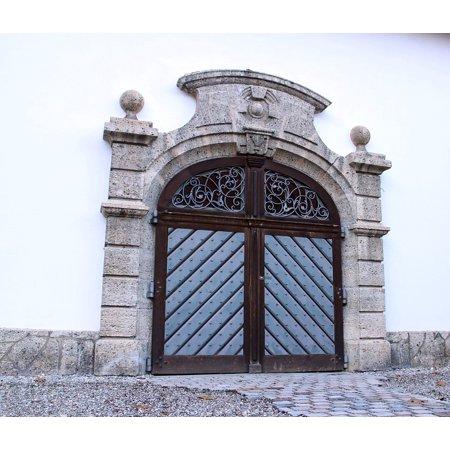 LAMINATED POSTER Round Arch Wood Double Door Input Door Hinged Door Poster Print 24 x 36