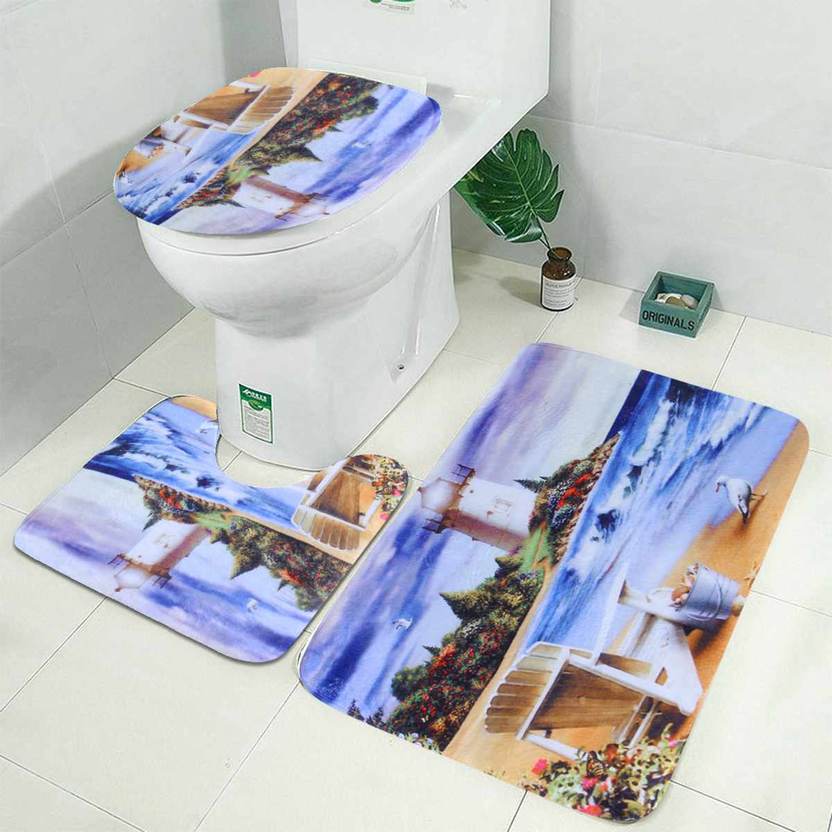 Sea Lighthouse Shower Curtain With, Lighthouse Bathroom Sets
