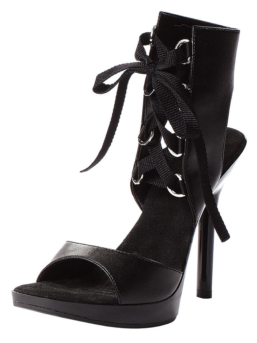 les femmes et # 39; s gothic à 5 cm à gothic talons sandale avec de la dentelle devant la clôture Noir  792bd7