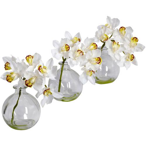 Nearly Natural Cymbidium with Vase Silk Flower Arrangements, Set of 3