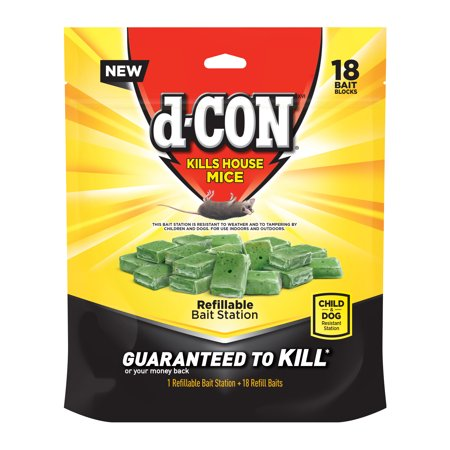 d-CON Refillable Corner Fit Mouse Poison Bait Station, 1 Trap + 18 Bait