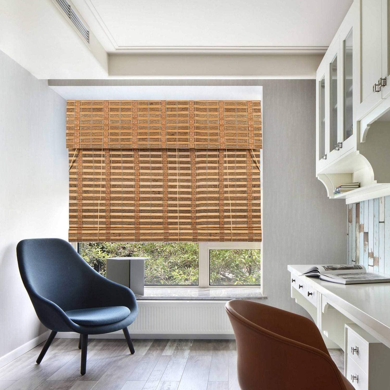 Bamboo Roll Up Window Blind Sun Shade Light Filtering Roller Shade