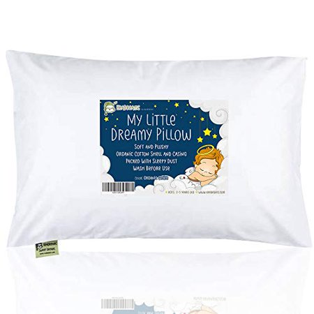 Toddler Pillow with Pillowcase - 13X18 Soft Organic Cotton Baby Pillows for Sleeping - Washable and Hypoallergenic - Toddlers, Kids, Infant - Perfect for Travel, Toddler Cot, Bed Set (Soft White)