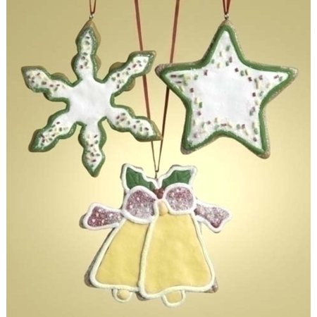 Roman 12ct Snowflake, Star, and Bell Cookie Shaped Christmas Ornament Set 3.5