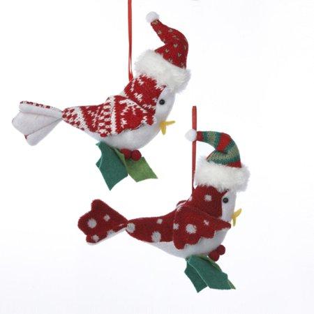 pack of 12 decorative cardinal bird christmas ornaments wearing santa hats 5 - Bird Christmas Ornaments